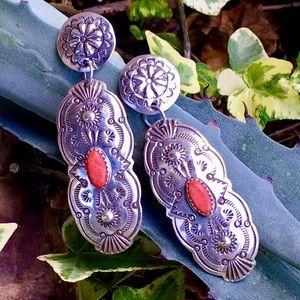 Vint. Navajo Silver Mediterranean Coral Earrings